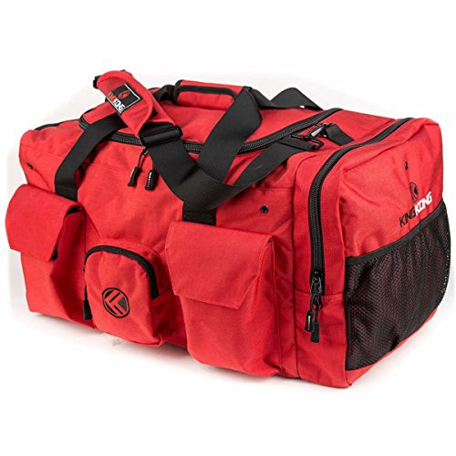 """King Kong Giant Kong Original Nylon Gym Bag - Large Heavy Duty and Water-Resistant Duffle Bag - Military Spec Nylon- Heavy Duty Steel Buckles - 18"""" x 13.5"""" x13""""- Red"""