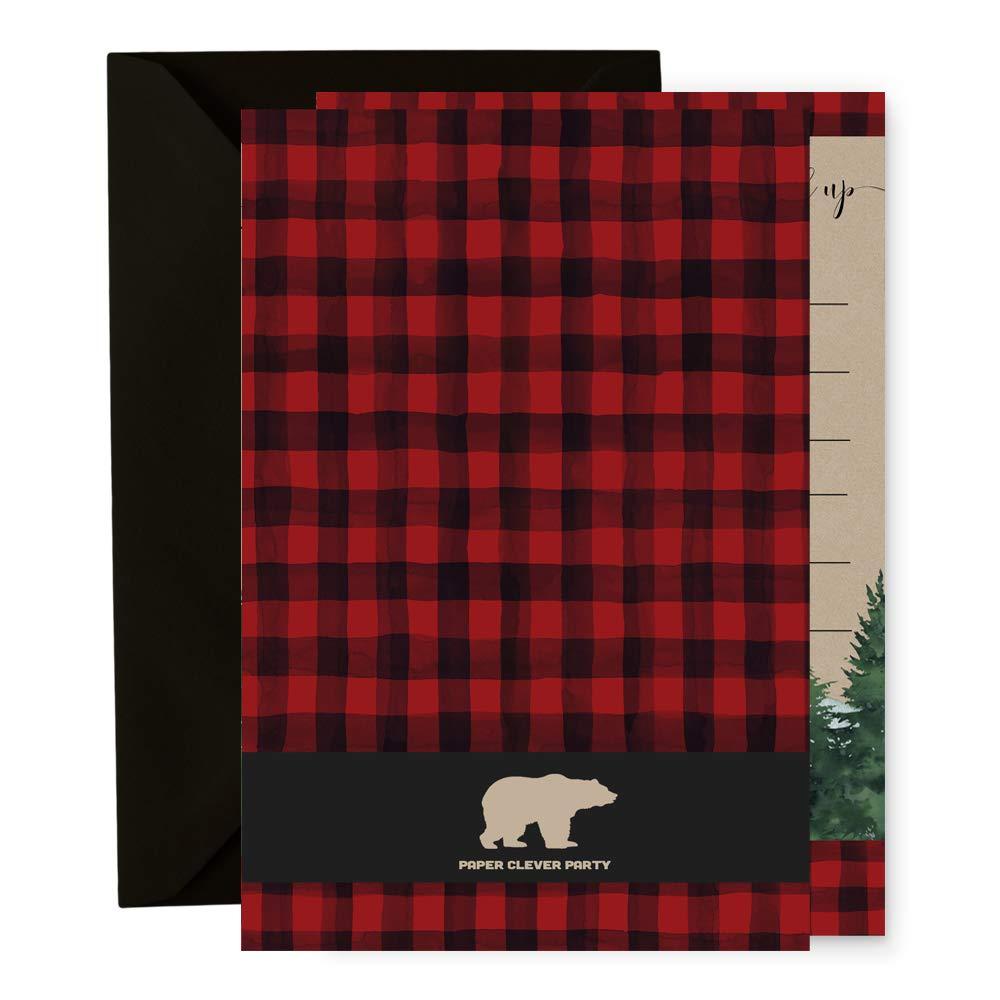Birthday Party 15 Lumberjack Invitation Cards with Black Envelopes Baby Shower