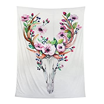 amazon co jp 鹿スカル花タペストリーunique wall hanging decor