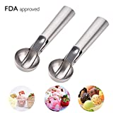 easy dough - Cookie Scoop - Hisome Stainless Steel Ice Cream Scoop with Easy Trigger for Cookie Dough, Baking and Water Melon - 2 Pack