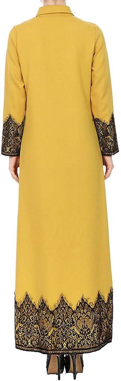 Realike Muslim damska koronka patchwork, sukienka maxi, sukienka wieczorowa, sukienka na kostkę, wesele, modlitewna, tulamska: Odzież
