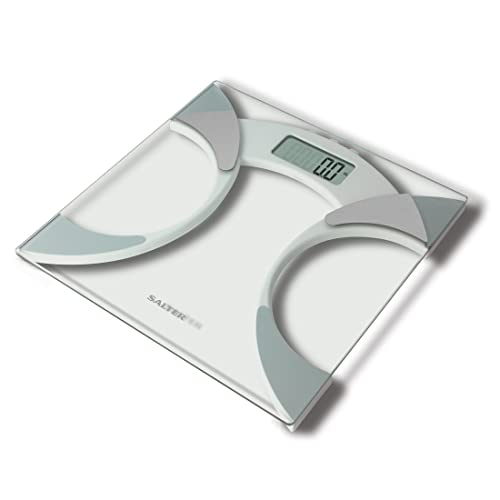 Salter Ultra Slim Analyser Bathroom Scales, Measure Weight BMI Body Fat Percentage Body Water, Slim 25mm Design, Tough 6mm Glass with Carpet Feet, Easy to Read Digital Display - Glass.