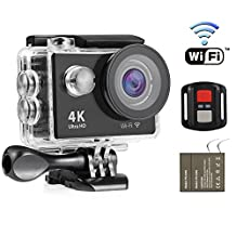 4K WIFI Action Camera,NEXGADGET Waterproof DV Camcorder 12MP 170 Degree Wide Angle with 2.4G Remote Control for Action Sports Camera with 2 Rechargeable Batteries