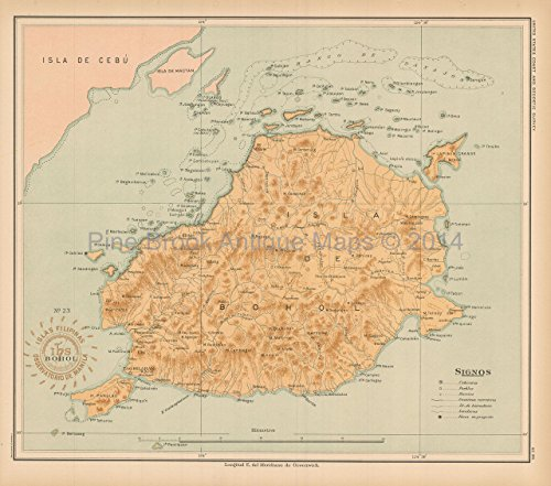 Behol Philippine Islands Antique Map Algue 1899 Authentic Filipino Decor Ideas History Gift Ancestry ()