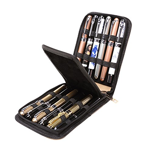 Topoomart Fountain Roller Ball Pen Case Holder PU Leather Bag for 12 Pens Beige