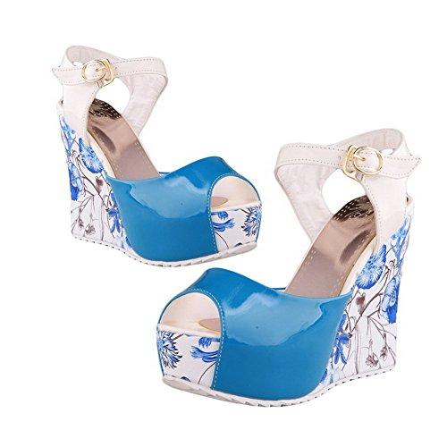 AllhqFashion Mujeres Peep Plataforma Hebilla Sólido Sandalia Azul