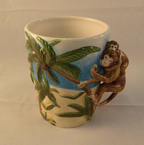 Scuptedl Ceramic Monkey with Baby Monkey and Palm Trees Mug 10 Oz - Ceramic Palm Tree