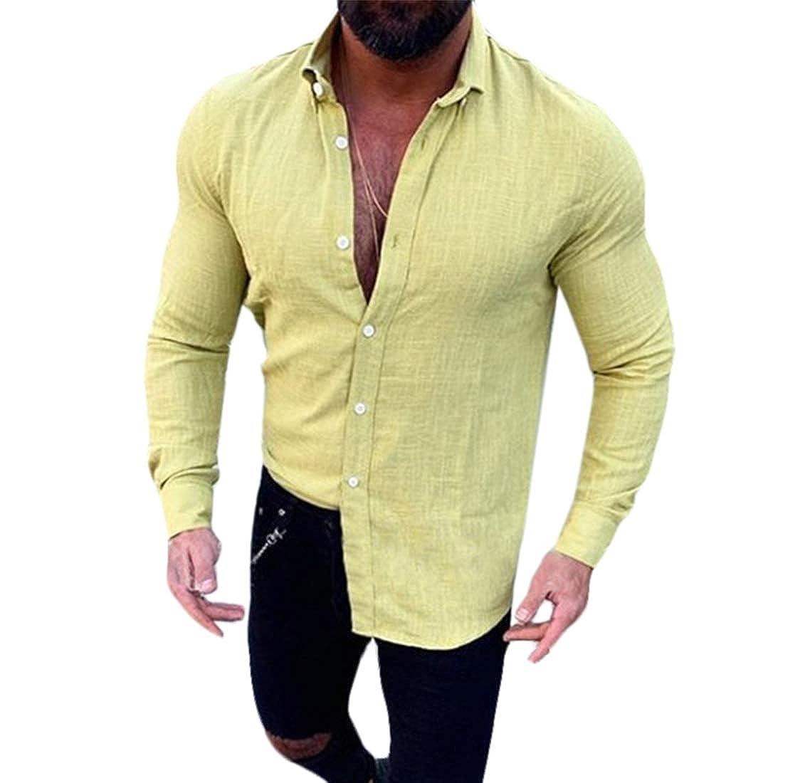 Domple Men Jacquard Casual Long Sleeve Simple Linen Western Button Down Shirt