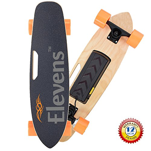 Price comparison product image Elevens Single Hub Motor Electric Cruiser Skateboard, 12 MPH 10 Mails Remote Control Skateboard with Storage Bag(28in, Maple GTS)