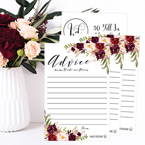 50 4x6 Floral Wedding Advice & Well Wishes For The Bride and Groom Cards, Reception Wishing Guest Book Alternative, Bridal Shower Games Note Card Marriage Advice Bride To Be, Best Wishes For Mr & Mrs Photo #3