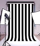 Laeacco 6X8FT Vinyl Photography Background Black and White Stripes Backdrop Party Artistic Children Adults Photo Backdrop 1.8(W)x2.5(H)M Photo Studio Prop