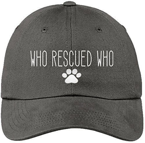 Sports Accessory Store Who Rescued Who Paw Print Gray Baseball Cap Hat Adjustable Unisex Shelter Pet