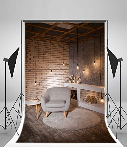 Cheap Laeacco 5x7FT Vinyl Background Interior Loft Living Room Dining Table Photography Background Modern Style Design Coffee Table and Gray Armchair Fireplace Lights Brick Wall Vintage Background