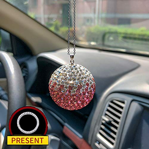 Car Rear View Mirror Accessories Bling Car Crystal Ball Rearview Mirror Charms Car Decor Interior Pink Car Accessories for Women