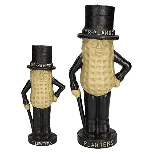 AB Tools Large & Small Mr. Peanut Money Box Bank Jar Planters Mascot Cast Iron Statue