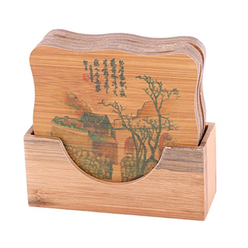 uxcell Bamboo Building Pattern Home Restaurant Tea Cup Bowl Mat Tray Coaster Set Brown