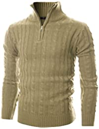 Mens Slim Fit Cable Knit Quarter Zip Long Sleeve Turtle Neck Pullover Sweater