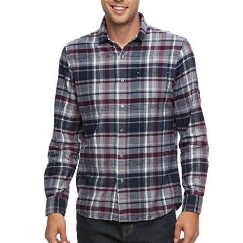 Apt 9 Men's Big & Tall Modern-Fit Plaid Brushed Flannel Button-Down Shirt (Relaxed Denim, L Tall)