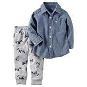 Carter's Baby Boys' 2 Piece Chambray Top and Bear Jogger Set Denim 12 Months