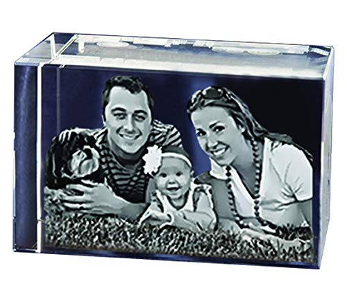 Personalized Glass Paperweight/Custom Gift - Your Picture and Text Engraved Inside The Rectangular Crystal Block