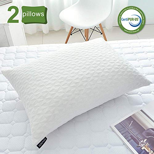 SORMAG Bed Pillows for Sleeping (2 Pack), Adjustable Shredded Memory Foam Pillow, Cooling Bamboo Pillow Neck Support for Back, Stomach, Side Sleepers-Queen Size
