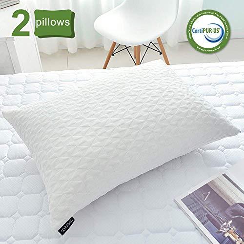 SORMAG Adjustable Shredded Memory Foam Pillows for Sleeping (2 Pack)