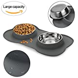 WESEN Dog Bowls, 53oz Stainless Steel Pet Bowls Dogs Cats Water Bowls Feeder Bowls with No-Spill and Non-Skid Bone Shape Silicone Mat Dog Food Bowls Set of 2 Grey