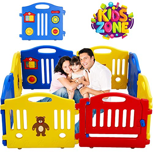 For Sale! 8 Panels Baby Playpen for Babies Baby Play Yards Kids Activity Centre Home Indoor Outdoor ...