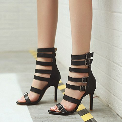 53c7cf12 ... COOLCEPT Mujer Romano Tacon de Aguja Alto Hueco Verano Botas Punta  Abierta Sandalias Cremallera Zapatos Negro ...
