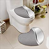L-QN Toilet Mat Metal Background Square Shaped Grid Speaker Featured Industrial Iron Design Silver Non Slip, Microfiber Shag, Absorbent, Machine Washable