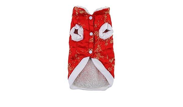 Amazon.com : eDealMax China Tang Animal doméstico del Estilo del perro de Pomeranian ropa ropa de Abrigo, Grande, Rojo : Pet Supplies