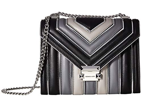 MICHAEL Michael Kors Whitney Large Quilted Tri-Color Polished Leather Shoulder Bag, Black Grey ()