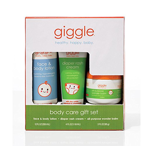 Giggle Body Care Gift Set - Diaper Cream, Healing Balm, Body Lotion - 3 ct