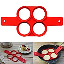 Maphissus Egg Pancakes Maker with 4 Hole Pancake Pan Silicone Stars Petals Heart Square Shape Fried Eggs Molds (4 holes round)