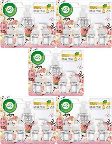 Air Wick Plug in Scented Oil 5 Refills, Vanilla & Pink Papaya, (5x0.67oz), Essential Oils, Air Freshener Pack of 5