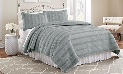 Amrapur Overseas Waves Ruffled Quilt Sets, Grey, Single, 2-Piece Yes 3MFRFWVG-GRY-TN