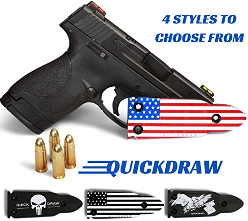 - QuickDraw Magnetic Gun Mount (Red, White Blue Flag) for Vehicle Home Office 35lb Rated Gun Magnet Holder Holster Safety Rack Accessory HQ Rubber Coated Bullet Shaped Neodymium Magnet Handgun Firearm