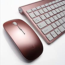 Becoler 2.4G USB Ultra-thin Slim Portable Mini Wireless Keyboard and Mouse Combo Stainless Steel Cover for Laptop Desktop Computer Smart TV Rose