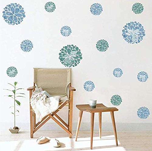 Watercolor Blooming Flower Wall Decal, Attractive Fireworks Pattern Sticker for Holiday Decoration, Great Circle Window Cling Decor and Girls Bedroom Decor ()