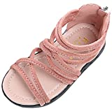 VECJUNIA Girl's Gladiator Sandals Ankle High Strappy Zip up Non-Slip Party Shoes (Pink, 10 M US Toddler)