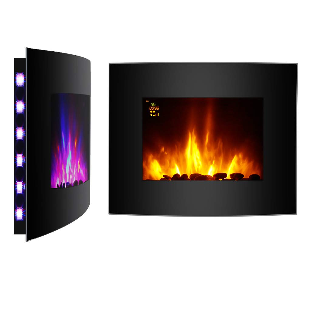 Finether 2000W Modern Wall Mounted Electric Fireplace Heater with 3D Patented Flame/7 Color Changeable LED Backlight and Remote Control/Black