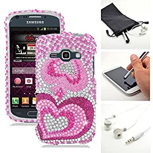 Pink Hearts Diamond Rhinestone Phone Case Cover for Samsung Galaxy Ring M840 + Accessory Kit