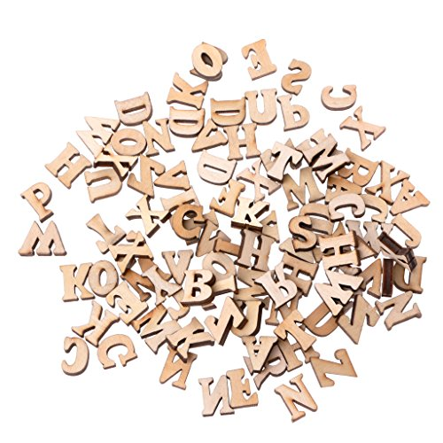 Onpiece 100Pcs Wooden Alphabet Embellishment Wood Letters Scrapbooking Cardmaking Craft