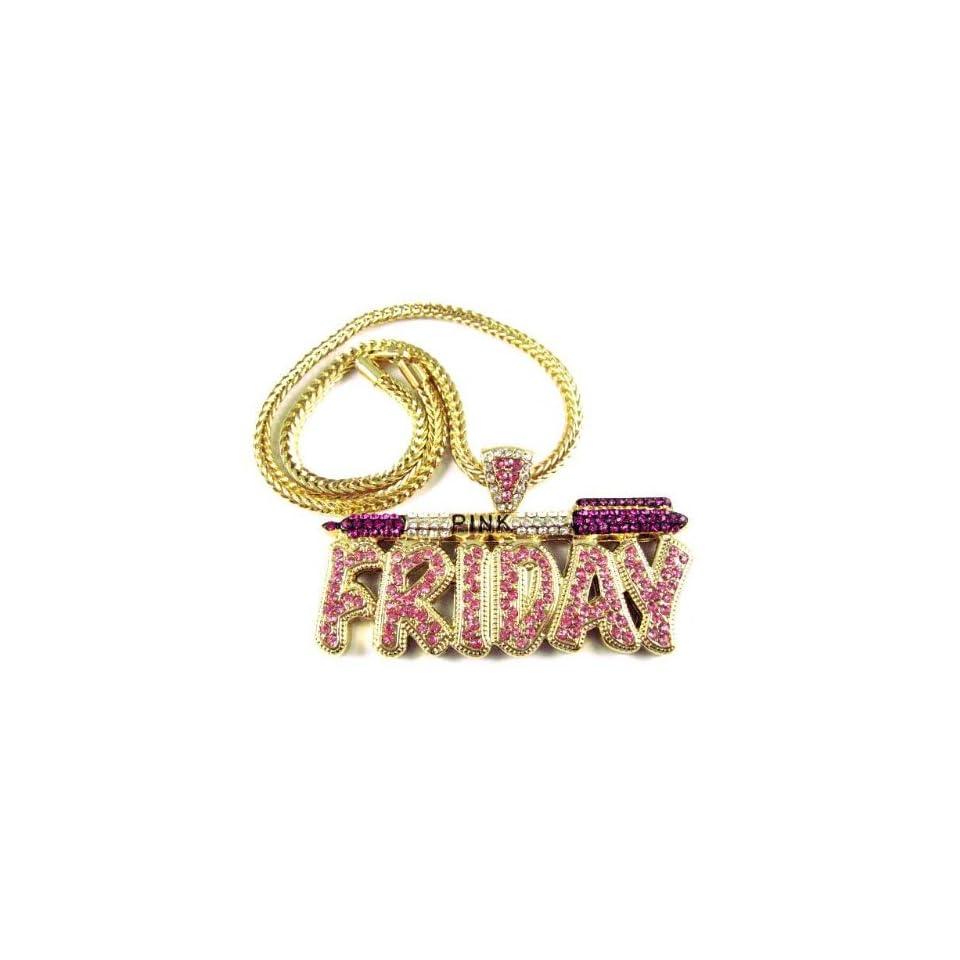 NICKI MINAJ BARBIE Pink Friday Pendant Chain Gold Purple