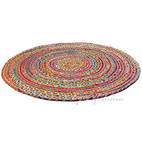 Eyes of India 5 ft Round Colorful Natural Jute Chindi Sisal Woven Area Braided Rug Boho Bohemian Indian