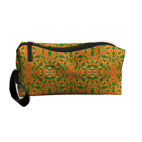 Cats Tossed (NSDxfckSO195 Tossed Green Cats And Spiders On Orange Giftwrap Women's Travel Cosmetic Bags Small Makeup Clutch Pouch Cosmetic And Toiletries)