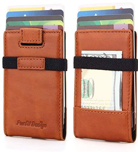 Purfit Design Slim Wallet - Genuine Leather Mini Wallet Card Holder Minimalist Front Pocket Wallet with Money Clip & RFID Blocking (Cognac)