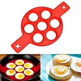 Silicone Pancake Mold Egg Ring - Nonstick Flipper Silicone Maker Moulds for Egg muffins, Pancakes,Omelettes,Fried or Poached Eggs, Burgers and More