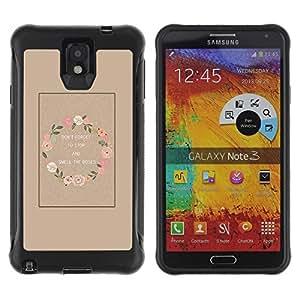 LASTONE PHONE CASE / Suave Silicona Caso Carcasa de Caucho Funda para Samsung Note 3 / Wreath Smell Roses Wake Up