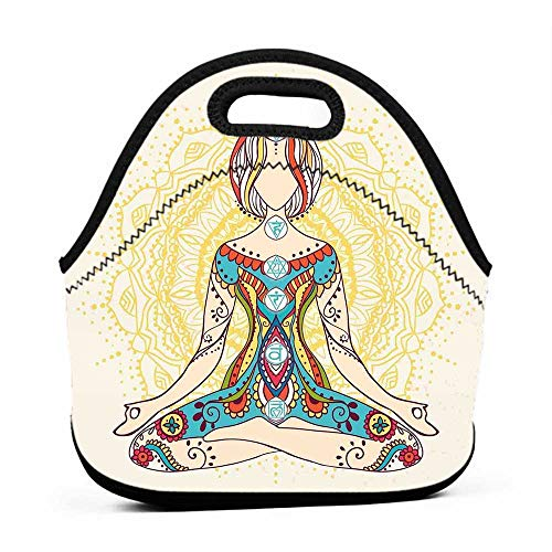 (for Womens Mens Boys Girls Chakra Decor,Ornate Female on Lotus Pose with Spots Points on the Body Sacred Pulses Print Art,Multi,bag and lunch bag set for boys)